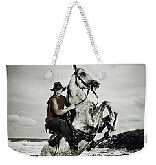 Cowboy On The Rear Up Horse In The River Weekender Tote Bag