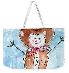 Cowboy Snowman Watercolor Painting By Kmcelwaine Weekender Tote Bag