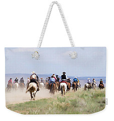 Weekender Tote Bag featuring the digital art Cowboys And Cowgirls Riding Horses At The Sombrero Horse Drive by Nadja Rider
