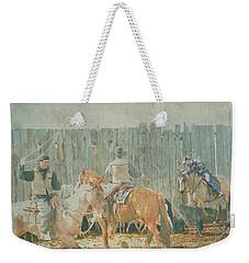 Weekender Tote Bag featuring the digital art Cowboys Working The Spring Calves by Kae Cheatham