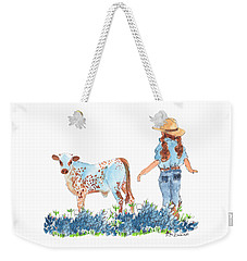 Cowgirl Calf In The Bluebonnets Pe005 Weekender Tote Bag