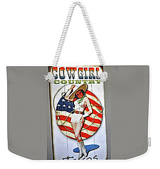 Weekender Tote Bag featuring the photograph Cowgirl Pin-up Texas by Jay Milo