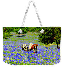 Weekender Tote Bag featuring the photograph Cows In Texas Bluebonnets by Kathy White