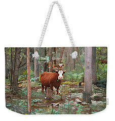 Weekender Tote Bag featuring the painting Cows In The Woods by Joshua Martin