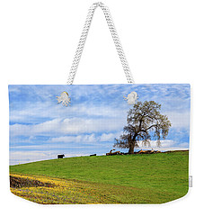 Weekender Tote Bag featuring the photograph Cows On A Spring Hill by James Eddy