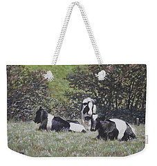 Weekender Tote Bag featuring the painting Cows Sitting By Hill Relaxing by Martin Davey