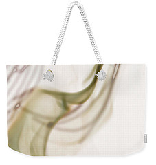 Weekender Tote Bag featuring the photograph Coy Lady In Hat Swirls by Vicki Ferrari