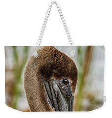 Weekender Tote Bag featuring the photograph Coy Pelican by Jean Noren