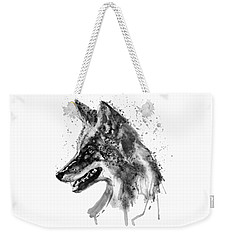 Weekender Tote Bag featuring the mixed media Coyote Head Black And White by Marian Voicu