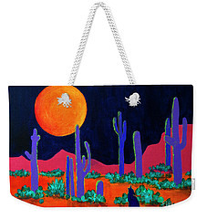 Weekender Tote Bag featuring the painting Coyote Moon by Jeanette French