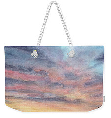 Weekender Tote Bag featuring the painting Coyote Sunset by Betsy Hackett