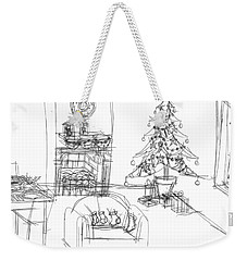 Weekender Tote Bag featuring the drawing Cozy Christmas by Artists With Autism Inc