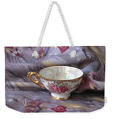 Weekender Tote Bag featuring the photograph Cozy Time With Tea And Fleece Blanket by Nancy Lee Moran