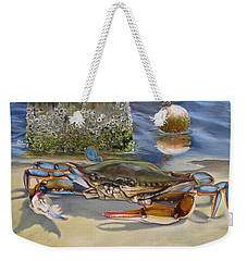 Crab On The Shoreline Weekender Tote Bag by Phyllis Beiser
