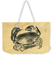 Weekender Tote Bag featuring the drawing Crab Vintage by Edward Fielding