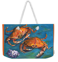 Weekender Tote Bag featuring the painting Crabs by Susan Thomas