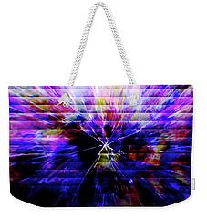 Cracked Abstract Blue Weekender Tote Bag by Carol Crisafi