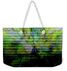 Cracked Abstract Green Weekender Tote Bag by Carol Crisafi