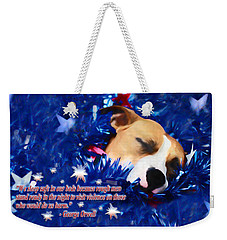 Weekender Tote Bag featuring the photograph Cradled By A Blanket Of Stars And Stripes - Quote by Shelley Neff