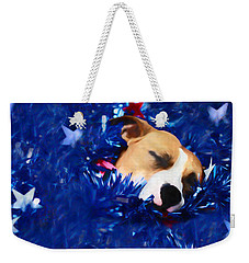 Weekender Tote Bag featuring the photograph Cradled By A Blanket Of Stars And Stripes by Shelley Neff