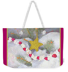 Weekender Tote Bag featuring the painting Cranberry Garland With Gold Christmas Star by Nancy Lee Moran