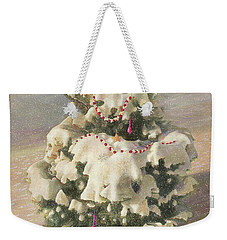 Weekender Tote Bag featuring the painting Cranberry Garlands Christmas Blue Spruce by Nancy Lee Moran