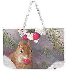Weekender Tote Bag featuring the painting Cranberry Garlands Christmas Squirrel by Nancy Lee Moran