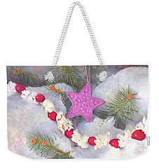 Weekender Tote Bag featuring the painting Cranberry Garlands Christmas Star In Orchid by Nancy Lee Moran