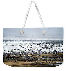 Weekender Tote Bag featuring the photograph Crane Dance by Torbjorn Swenelius