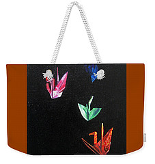 Weekender Tote Bag featuring the painting Crane Flight by LaVonne Hand