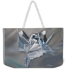 Weekender Tote Bag featuring the painting Crane Pile by LaVonne Hand
