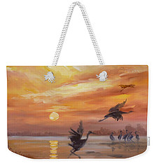 Cranes - Golden Sunset Weekender Tote Bag by Irek Szelag
