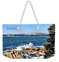 Weekender Tote Bag featuring the photograph Crashing Acadia Waves 2 by Debbie Stahre