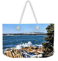 Weekender Tote Bag featuring the photograph Crashing Acadia Waves by Debbie Stahre