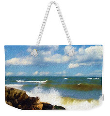 Weekender Tote Bag featuring the photograph Crashing Into Shore by Sandy MacGowan