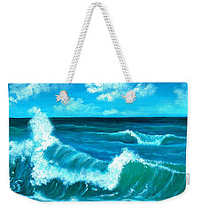 Weekender Tote Bag featuring the painting Crashing Wave by Anastasiya Malakhova