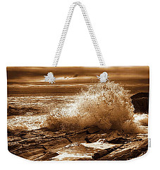 Crashing Wave Hdr Golden Glow Weekender Tote Bag by Sherman Perry