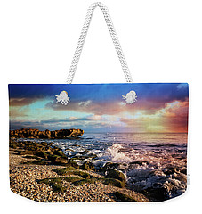Weekender Tote Bag featuring the photograph Crashing Waves At Low Tide by Debra and Dave Vanderlaan