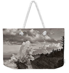 Crashing Waves At Shore Acres Weekender Tote Bag by Patricia Davidson