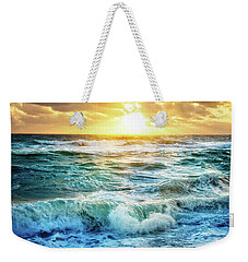 Weekender Tote Bag featuring the photograph Crashing Waves Into Shore by Debra and Dave Vanderlaan