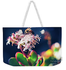 Weekender Tote Bag featuring the photograph Crassula Ovata Flowers And Honey Bee by Sharon Mau