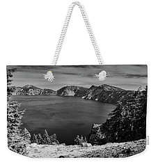 Weekender Tote Bag featuring the photograph Crater Lake View In Bw by Frank Wilson