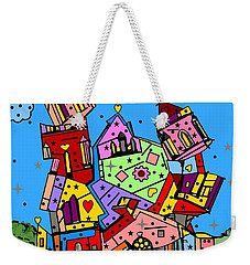 Weekender Tote Bag featuring the digital art Crazy Building Popart By Nico Bielow by Nico Bielow