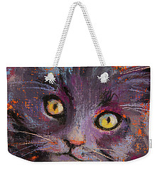 Crazy Cat Black Kitty Weekender Tote Bag