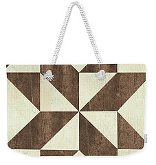 Cream And Brown Quilt Weekender Tote Bag