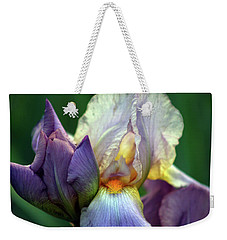 Cream And Purple Bearded Iris With Bud 0065 H_2 Weekender Tote Bag