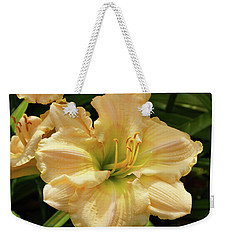 Weekender Tote Bag featuring the photograph Cream Daylily by Sandy Keeton