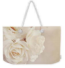 Weekender Tote Bag featuring the photograph Cream Roses In Vase by Lyn Randle