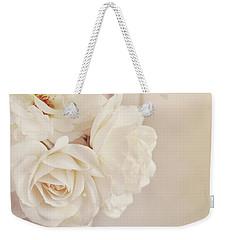 Cream Roses In Vase Weekender Tote Bag