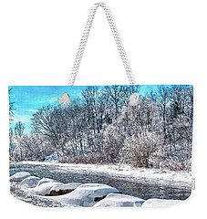 Weekender Tote Bag featuring the digital art Credit River At Winter by Kai Saarto